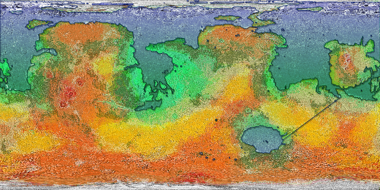 Frans Blok's Map of Red, Green and Blue Mars on borealis basin on mars, detailed map of mars, map of a trip to mars, political map of mars, map of mars space, map of mars land, modern map of mars, map of mars with water, terraforming of mars,
