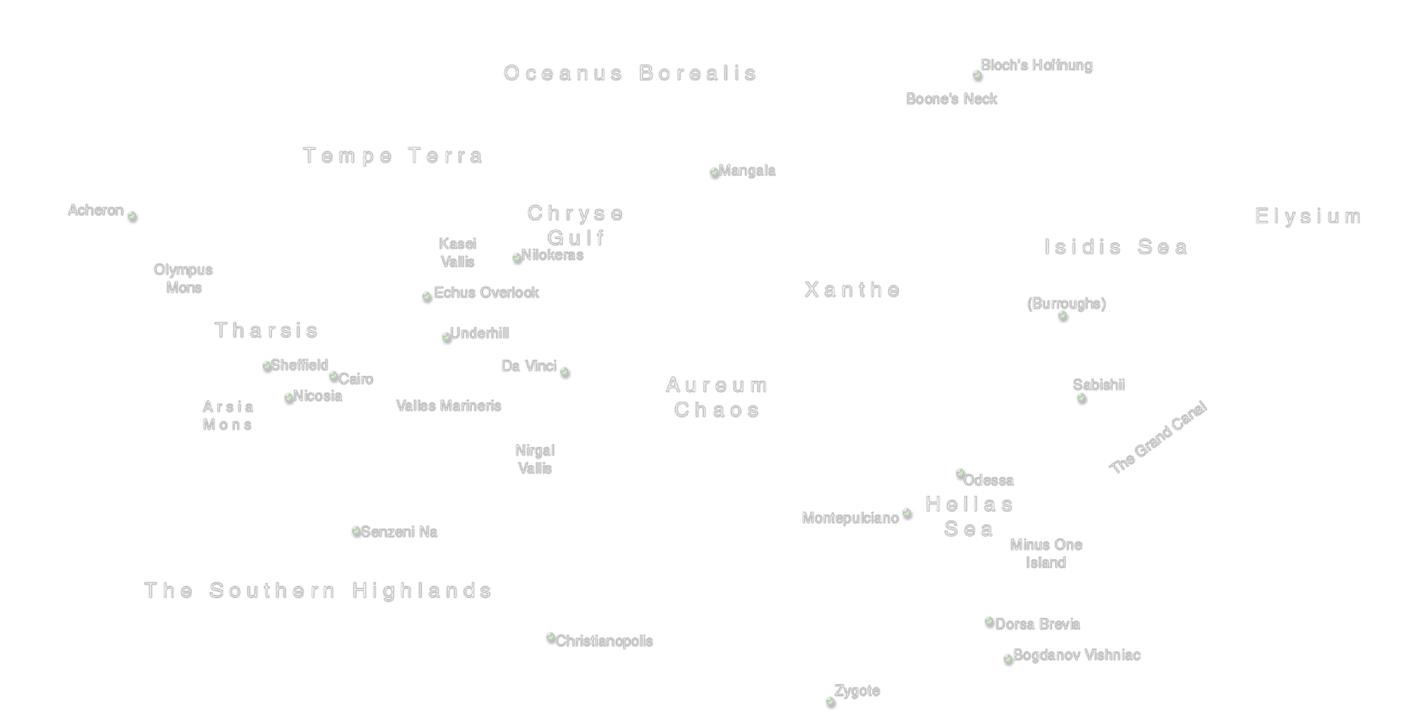 2Kx1K PNG Texture map of RGB Mars' place names ...